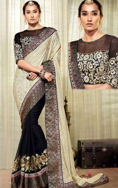 Enigmatic Black and Ivory Color Designer Saree
