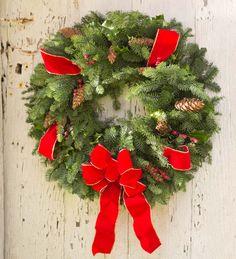 Handmade Fresh Holiday Wreath With Holly