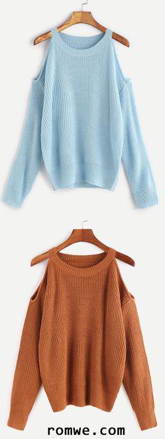 Cold Shoulder Loose Sweater