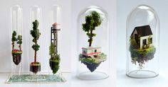 Artist Rosa de Jong continues to explore the spacious confines of glass test tubes by erecting impossibly small buildings, trees, and other inhabitable structures inside of them. For her series titled Micro Matter the Amsterdam-based artist uses traditional model-making materials and her own handcra