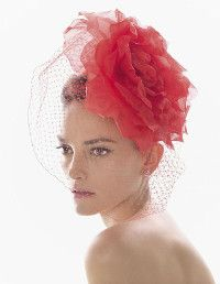 Tangerine birdcage veil with a large flower fascinator. designed by Rosa Clara Sombreros Fascinator, Fascinator Hats, Fascinators, Headpieces, Rose Hat, Wedding Hairstyles With Veil, Stylish Hats, Fancy Hats, Satin Roses