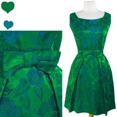 PinupDresses.com #Vintage #Dress Vintage 50s 60s GREEN Floral BROCADE Cocktail Party Dress S Blue SATIN Prom BOW