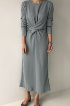 SuperAen Korean Style Fashion Women Long Dress Solid Color Cotton Casual Ladies Dress New Autumn 2018 Round Collar Dress Female Casual Dresses For Summer, Oufits Casual, Casual Summer, Style Outfits, Casual Dress Outfits, Fashion Vestidos, Women's Fashion Dresses, Modest Dresses, Sparkly Dresses