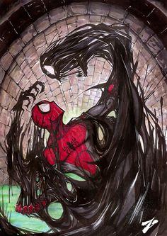 #Spiderman #Fan #Art. (Spiderman VS Venom Symbiot) By: Zuleta. (THE * 5 * STÅR * ÅWARD * OF: * AW YEAH, IT'S MAJOR ÅWESOMENESS!!!™)[THANK Ü 4 PINNING!!!<·><]<©>ÅÅÅ+(OB4E)