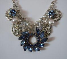 OOAK B Vintage Designs Upcycled Rhinestone Statement Necklace | eBay