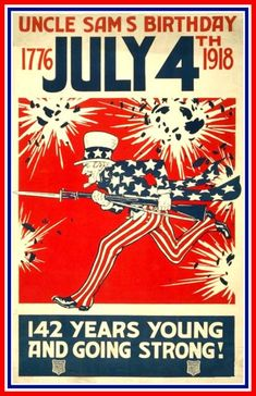 US Uncle Sam Birthday Poster 1918 Print.    The latest in a series of prints from old-time Posters. This one is an old US Navy propaganda Poster