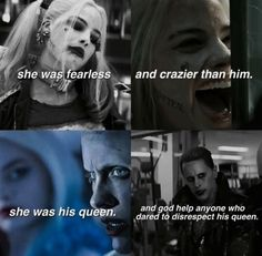 suicide squad, joker, and harley quinn image Harley And Joker Love, Joker Y Harley Quinn, Harely Quinn And Joker, Joker And Harley Tattoo, Margot Robbie Harley Quinn, Joker Quotes, Movie Quotes, Dc Memes, Jokers