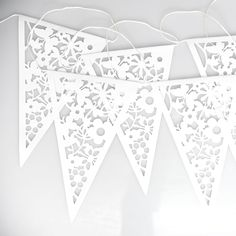 Paper lace bunting (16 per string@$6.95 ea  http://www.dotcomgiftshop.com/paper-bunting-white-lace
