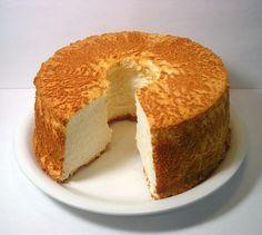 Pastel de ángel, ligero y libre de grasa: 125 gr. de harina, 1 pizca de sal, 12 claras de huevo a temperatura ambiente, 1 cdta. de gasificante, 250 gr. de azúcar, 2 cdtas. de extracto de vainilla. Montar las claras con el gasificante, el azúcar y la vainilla a punto de nieve. Añadir la harina tamizada poco a poco. Poner en un molde y hornear a 175ºc hasta que esté doradito(35/40min.: