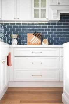 Love these Victorian Geometric tiles in this heritage house Blue Tile Backsplash Kitchen, Contemporary Kitchen Backsplash, Kitchen Flooring, Kitchen Backsplash Inspiration, Kitchen Cabinet Design, Kitchen Redo, New Kitchen, Kitchen Remodel, Kitchen Ideas