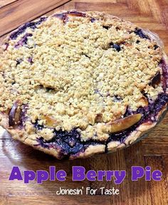 Oatmeal crumble topping, apples, triple berry mix- what isn't there to love in this Apple Berry Pie