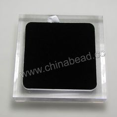 Acrylic cabochon display, Clear white and black color, Square, Approx 90x90x20mm, 10 pieces per bag, Sold by bags