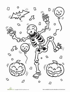 This skeleton coloring page features a skeleton who just wants to have fun. Some skeletons are scary, and some are creepy, but this skeleton was born to boogie! Color in the skeleton and his friends the bats and pumpkins. Don't forget to color in the Halloween dance floor! Have a bone-shaking good time jiggling, spinning, and dancing a jig with this hip skeleton coloring page. #educationdotcom Cute Halloween Coloring Pages, Halloween Coloring Pictures, Halloween Drawings, Halloween Skeletons, Halloween Pictures To Colour, Dance Coloring Pages, Colouring Pages, Coloring Pages For Kids, Coloring Books