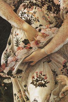 "a-little-bit-pre-raphaelite: "" Celebrating the opening of Botticelli Reimagined at the V & A detail Primevera, c.1477-1482, Sandro Botticelli detail Gentle Spring, c.1865, Frederick Sandys """