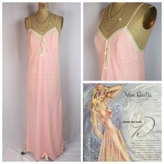Vintage Van Raalte Pink Rayon with Ivory Lace Night Gown Size 34 | eBay