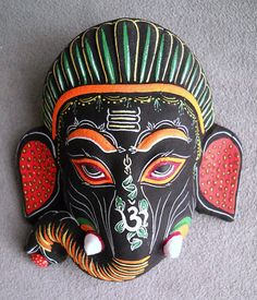 Detailed Black Ganesh Paper Mache Mask Handmade in Nepal | eBay