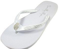 c413c0ea6594e4 Bridal Flip Flops Wedding White Flat Bride Emerald Cut Jewel Satin  Rhinestone Flip Flops