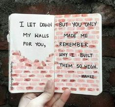 I let down my walls for you, But you only made me remember why i built them so high -mansi.