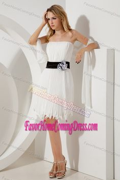 Cheap Pleated White Evening Homecoming Dress for Summer in Chiffon