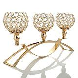 Manvi Gold Crystal Candle Holders, 3 Holders Metal Candelabra for Mothers Day for sale online