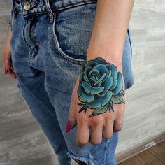Imagem de tattoo, rose, and blue