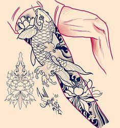 Dragon Koi Tattoo Design, Dragon Tattoo Leg, Buddha Tattoo Design, Dragon Tattoos For Men, Leg Sleeve Tattoo, Leg Tattoo Men, Leg Tattoos, Japanese Koi Fish Tattoo, Japanese Tattoo Designs