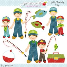Fishin Buddy Boy Cute Digital Clipart - Commercial Use OK - Fishing Clipart, Fishing Graphics, Fish Clipart