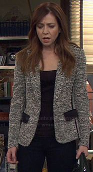 Lily's grey tweed jacket with black pockets on How I Met Your Mother.  Outfit Details: http://wornontv.net/21480/ #HIMYM