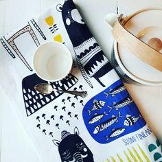 Kitchen Towel / Finland 100 Designed by: Mira Mallius Kitchen Towels, Finland, Fabrics, Textiles, Embroidery, Tableware, Design, Tejidos, Needlepoint