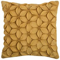 Rizzy Home Applique Felt Leaves Throw Pillow, Yellow Floral Throws, Floral Throw Pillows, Toss Pillows, Couch Pillows, Accent Pillows, Decorative Throw Pillows, Cushions, Yellow Pillow Covers, Yellow Pillows