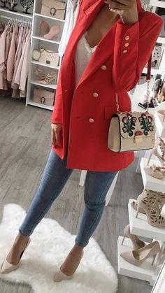 how to wear a red blazer : top + bag + skinnies + heels