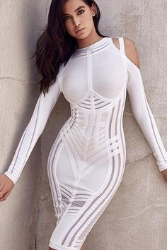 Whitedresses Cut Out Sexy  BandageDress With Long Sleeves Long Sleeve Bandage  Dress 036d90f99