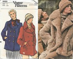 Find many great new & used options and get the best deals for Vtg Vogue 8689 Pattern 1970s 70s Pea Coat Jacket Double-breasted 1973 B32.5 10 at the best online prices at eBay! Free shipping for many products! Vogue Sewing Patterns, Mccalls Patterns, Wall Decor Crafts, 1970s Dresses, Miss Dress, Double Breasted Jacket, Coat Patterns, Pea Coat, Fabric Dolls