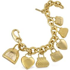 Moschino Time For Shopping - Gold Plated Charm Bracelet Watch ❤ liked on Polyvore