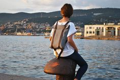 Lightweight safe backpack leather canvas rucksack by InconnuLAB
