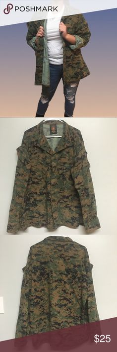 Camo Army Military Utility Shirt Size Large Reg This Camouflage Camo Jacket is edgy and ON TREND!! It's oversized and perfect to wear with a tee, jeans, and a pair of boots. Sleeves can be rolled or in rolled. Button up, pockets on front and arms with emblem on left side (as pictured). Perfect condition. Please see label for measurements. American Apparel Jackets & Coats Utility Jackets