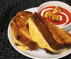 I'm pretty sure that everyone loves grilled cheese sandwiches dipped in tomato soup. But ... for dessert? Yes! This grilled cheese sandwich and soup are 100% sweet! It's so convincing, that it's a little weird to eat. But once you get past it masquerading as a main meal, it's an amazingly delicious dessert!