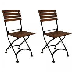 "Set of 2 European Cafe Folding Side Chairs (Black / Walnut Finished Chestnut) (33""H x 16""W x 15""D)"