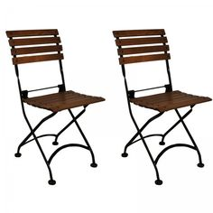 "Set of 2 European Cafe Folding Side Chairs (Black / Walnut Finished Chestnut) (33""H x 16""W x 15""D)"