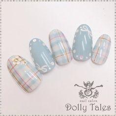 DollyTales_nailさんのチェック,ブルーネイル♪[473696]|ネイルブック