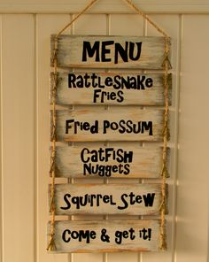 Cabin Menu Sign, Fried Possum, Squirrel Stew,Redneck Menu Sign, Father's Day Gift, Mother's Day Gift, Gag Gifts by OurLittleCountryShop on Etsy