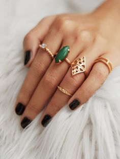 Gemstone Hollow Ring Set 5pcs -SheIn(Sheinside)