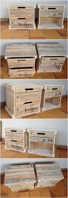 How beautifully these wood pallet side tables with drawers has been designed for the beauty of your house! This creation is rather small in size and you can make the perfect use of the drawers to add it up over the storage purposes. See the image and get some idea in this aspect! #palletfurniture #palletfurnituretable