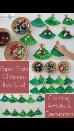 Paper Plate Christmas Tree Craft - a counting activity that becomes a christmas decoration. FREE printable numbered stars for counting Christmas Paper Plates, Decoration Christmas, Preschool Christmas, Christmas Activities, Christmas Crafts For Kids, Christmas Themes, Christmas Fun, Holiday Crafts, Garland Decoration