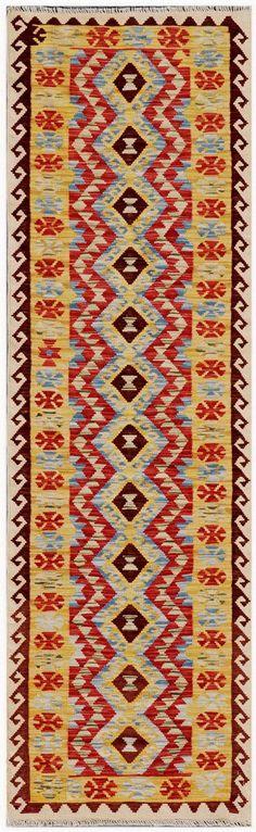 """KILIM HERAT 291x82. Alfombra Kilim Herat. Kilim Herat. Kilim anudado a mano con lana autóctona por las tribus """"turkemanas"""" en el norte de Afganistán. Los diseños utilizados son bellas estilizaciones de formas tradicionales como el """"boteh"""", octogonos, rombos engarzados... Kilims, Lana, Bohemian Rug, Rugs, Home Decor, Farmhouse Rugs, Creativity, Kilim Rugs, Norte"""