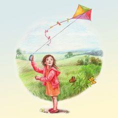 Nursery Art Prints / Waldorf inspired / kite, butterfly - April. $3.00, via Etsy.