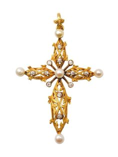 A period yellow gold, old cut-diamond and natural pearl cross-pendant. Art Nouveau, 1900.