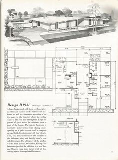 Vintage House Plans, Vintage Homes, Mid Century Homes. Great symmetry and sloping roof line. Very nice how the ceilings are slopes inside as well. Modern Floor Plans, Modern House Plans, Modern House Design, House Floor Plans, Mid Century House, Mid Century Style, Mid Century Design, Vintage House Plans, Vintage Homes