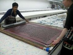 Video of textile printing on a large scale; Urmila Mohan printing with Christina Roberts of the Fabric Workshop and Museum in Philadelphia PA.