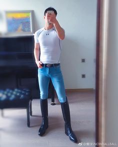 Master and Slave Cool Boots, Man Boots, Men In Tight Pants, Superenge Jeans, Black Boots, High Boots, Men In Uniform, Tights Outfit, Super Skinny Jeans